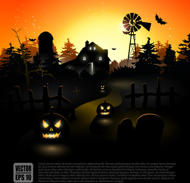 happy halloween backgrounds vector set