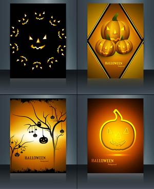 happy halloween four brochure reflection design vector