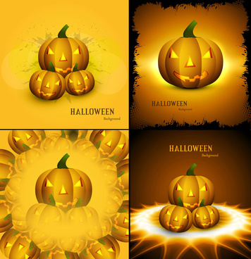 happy halloween four collection yellow pumpkins colorful design vector illustration