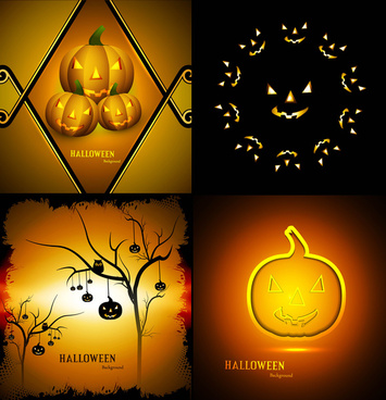 happy halloween party four collection presentation bright colorful card design vector