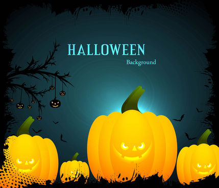 happy halloween scary yellow pumpkins bright colorful background vector