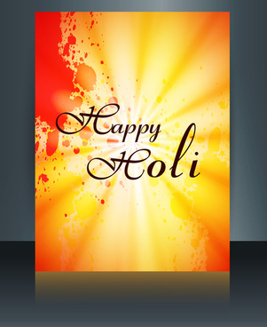 happy holi brochure template reflection colorful card festival vector