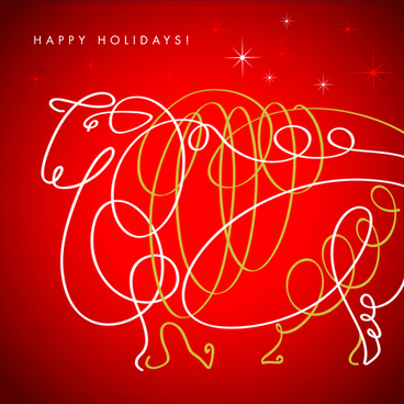 happy holiday sheep background vector