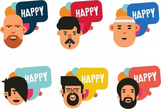 happy icons collection men face speech bubble decor