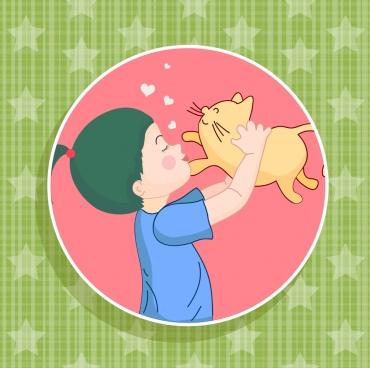 happy kid background pet love stars circle isolation