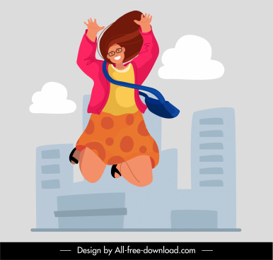 happy life background dynamic jumping girl sketch