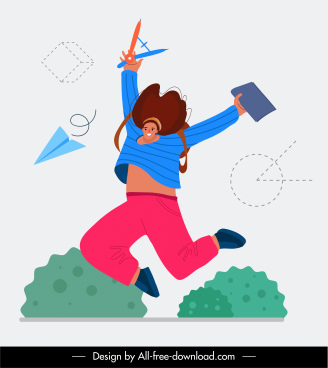 happy life concept background dynamic jumping woman sketch