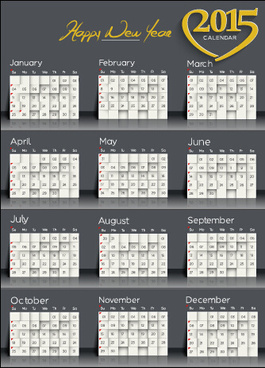 happy new year15 calendar dark style vector