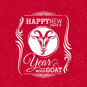 happy new year15 goat vector background