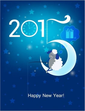 Happy New Year 2015 Original Christmas card Sheep fishing