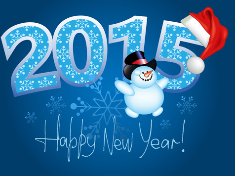 happy new year and15 xmas blue bakground
