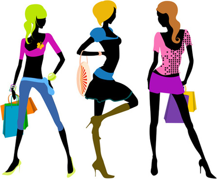 happy shopping girls vector set