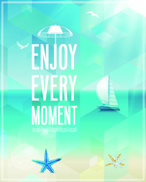happy summer design elements vector