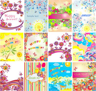 happy summer floral vector background set