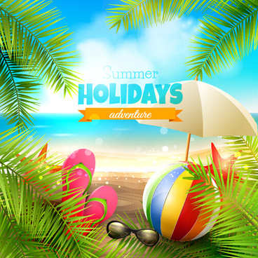 happy summer holiday background vectors