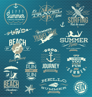 happy summer holiday travel logos and labels vector