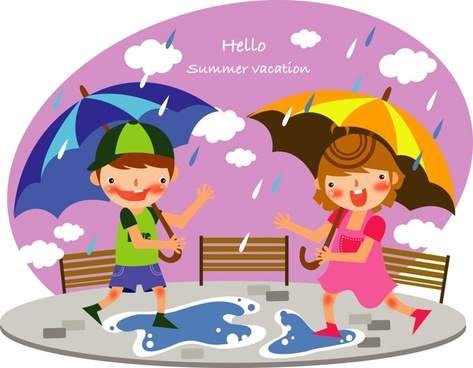 childhood background rainy theme colored cartoon sketch