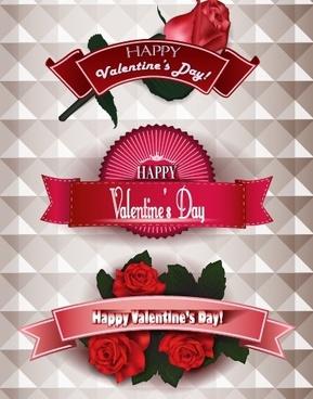 happy valentine day ribbon banner creative vector