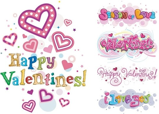 happy valentine day wordart vector