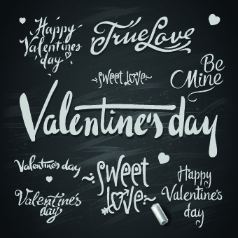 happy valentines day text elements vector