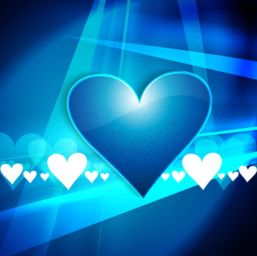 happy valentins day background with blue colorful heart design wave vector