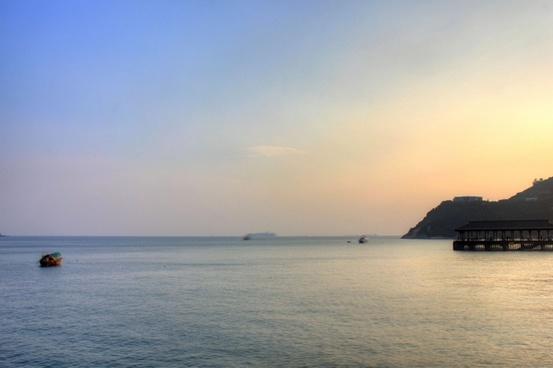 harbor at dusk in hong kong china
