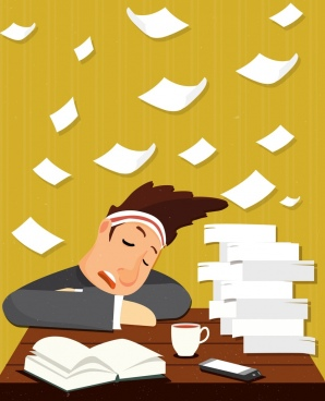 hard working drawing sleeping staff flying papers icons