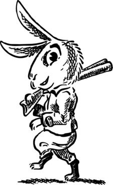 Hare With Shotgun clip art