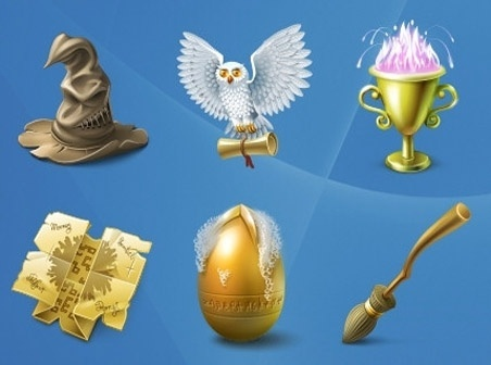 Harry Potter and Bitten Apple icons pack