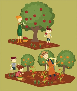 harvests drawings illustration with family gathering fruits
