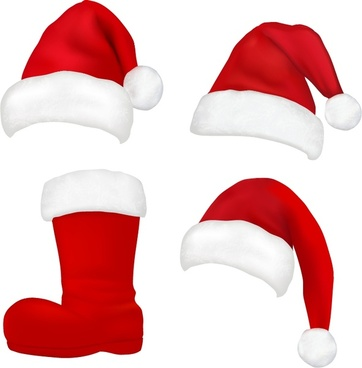 hats plush boots christmas vector