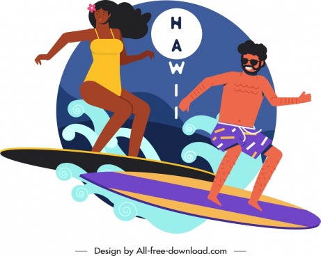 hawaii advertising background surfing people icon cartoon sketch
