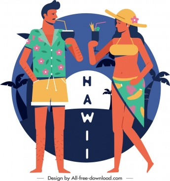 hawaii banner tourist enjoy cocktail icon cartoon design