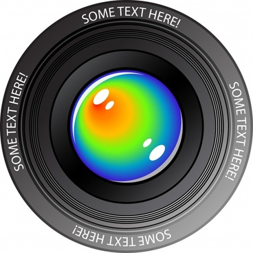 camera lens icon colored closeup modern design