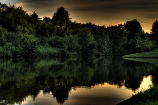 hdr photo from a lake in groningen the netherlands