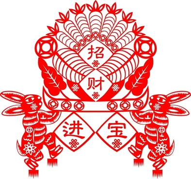 chinese new year design element classical red rabbits