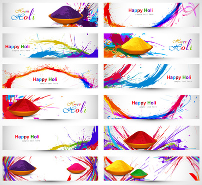 header and banner set happy holi beautiful indian festival colorful collection design vector