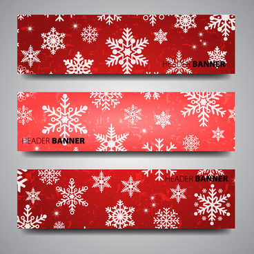 header banner design sets on christmas flakes background