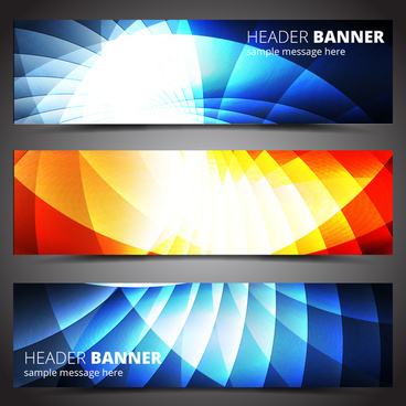 header banner design sets on light effect background