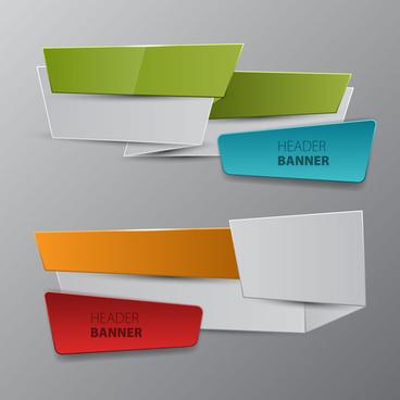 header banner sets on 3d origami design