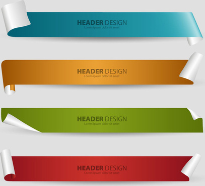 header design sets with 3d curled sheet background