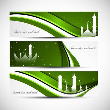 header ramadan kareem bright green colorful wave vector
