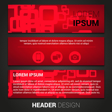 header template sets with geometric dark red background