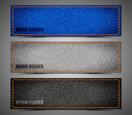 header templates sets with fabric and stitch background