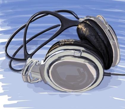headphone background modern 3d sketch