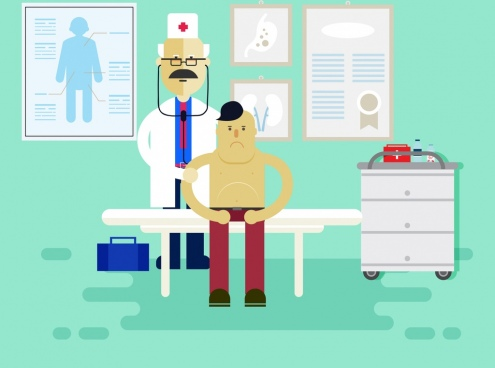 health care drawing doctor patient icons colored cartoon