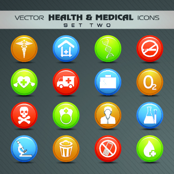 health with medical icons vecttor set