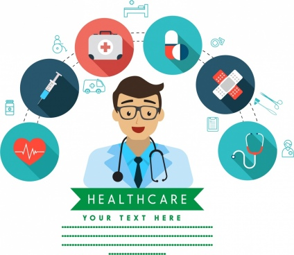 healthcare background doctor icon medical symbols isolation
