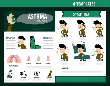 healthcare brochure design with asthma symptom infographic
