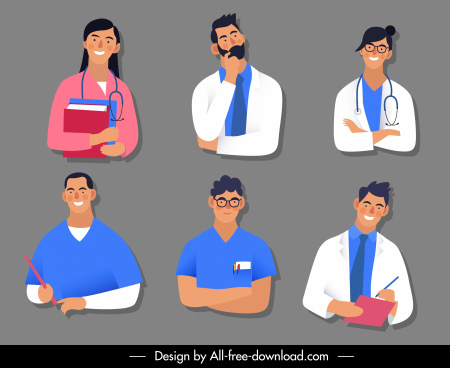 healthcare characters icons cartoon sketch